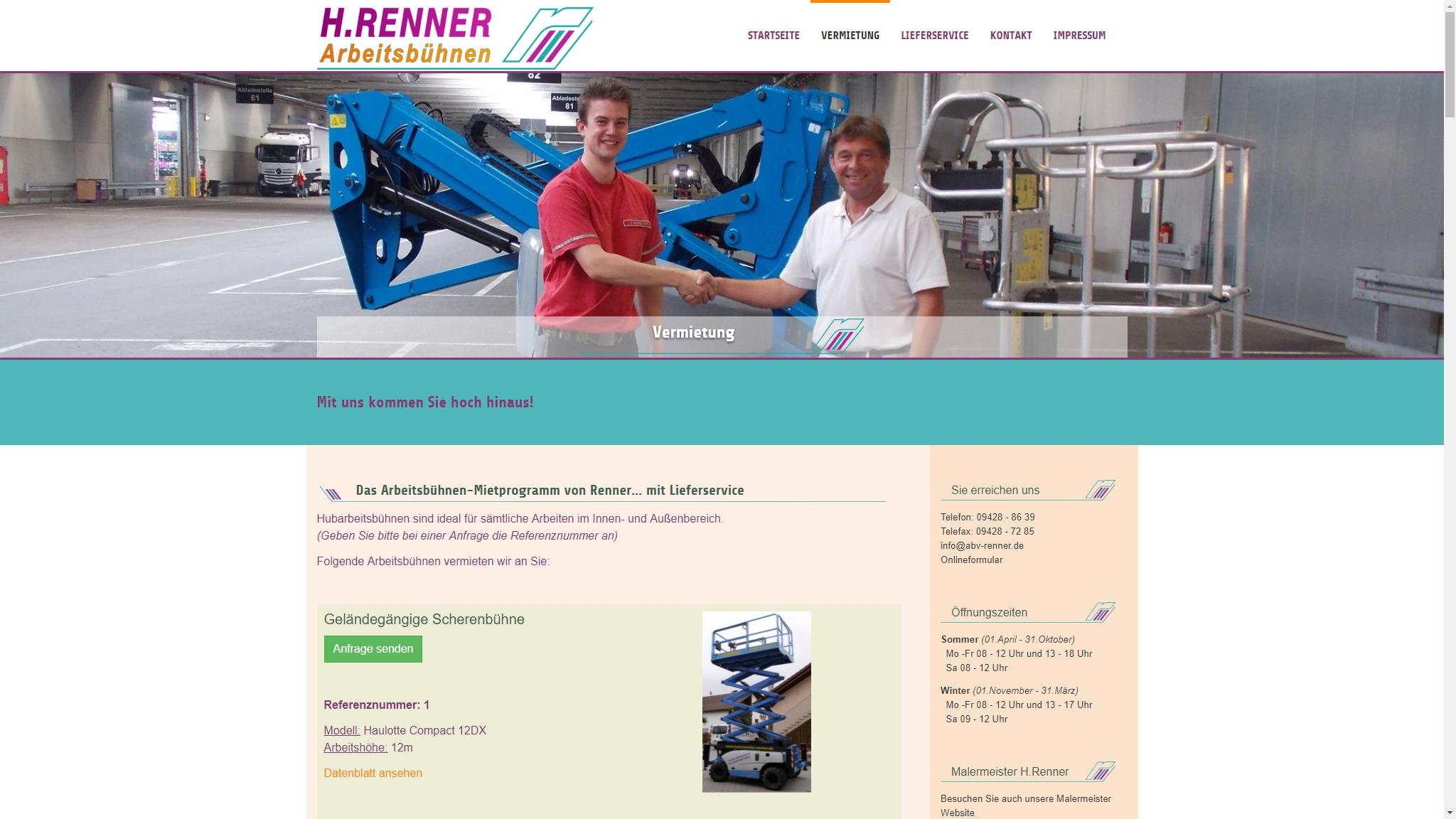 screenshot webseite www.abv-renner.de
