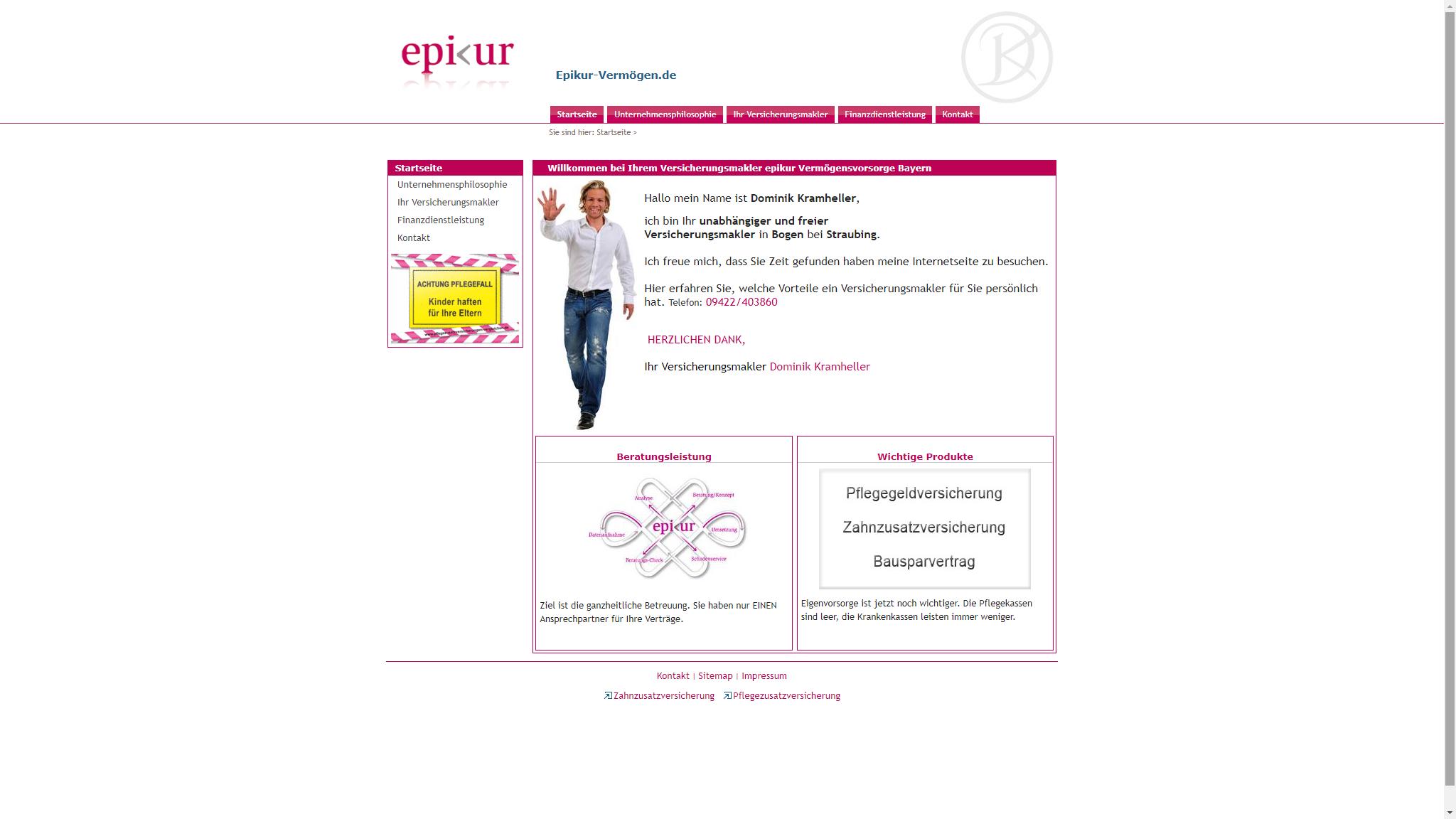 screenshot webseite www.epikur-vermoegen.de