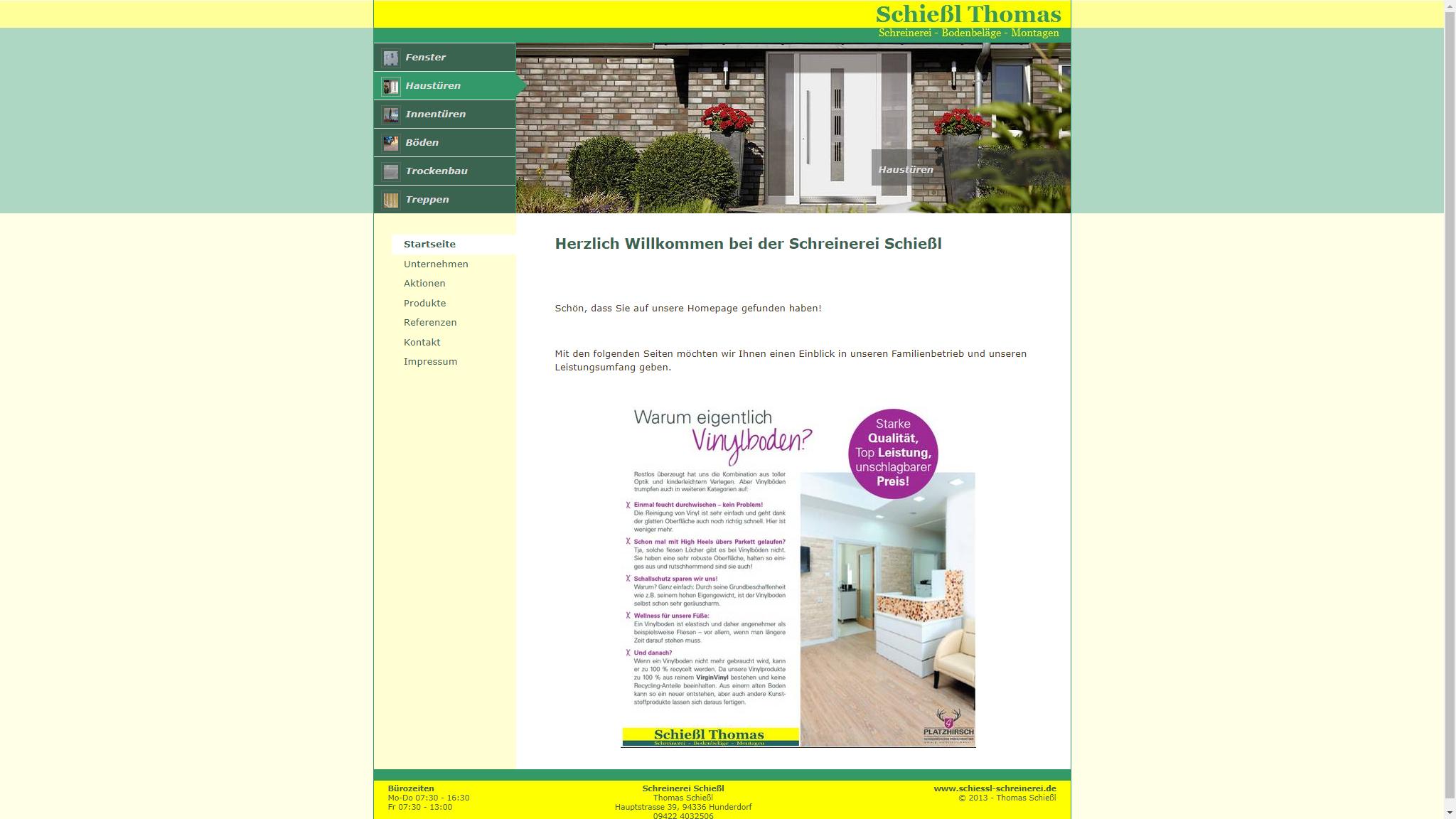 screenshot webseite www.schiessl-schreinerei.de