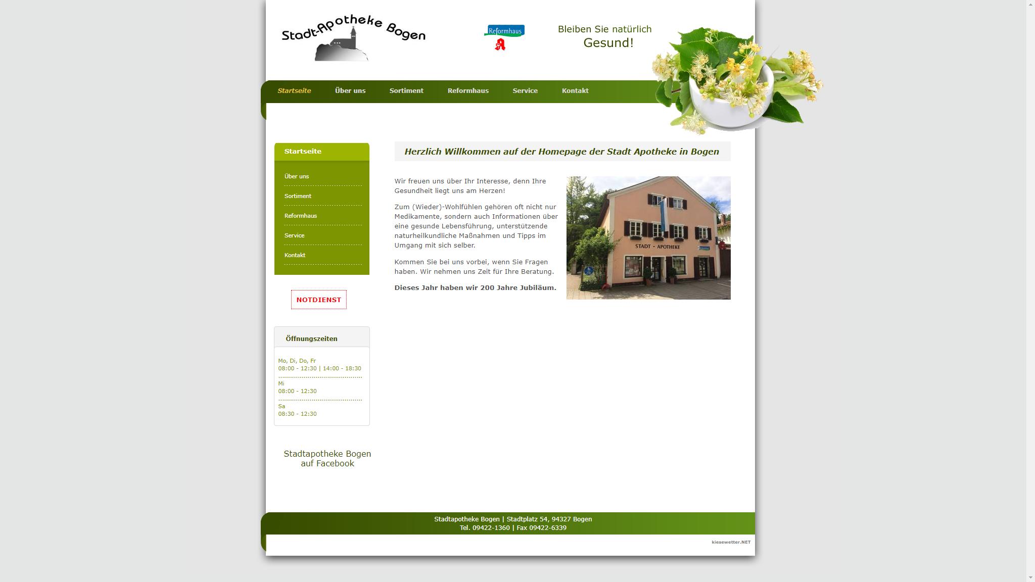 screenshot webseite www.stadtapotheke-bogen.de