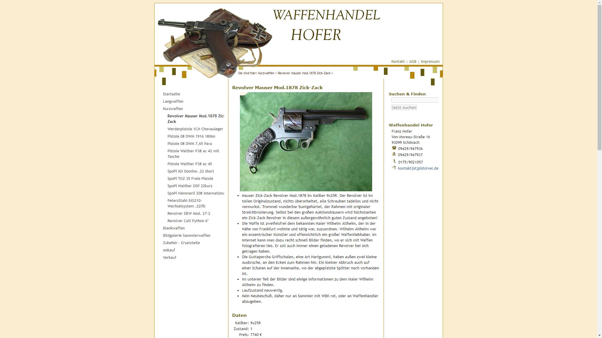 screenshot webseite www.waffenhofer.de